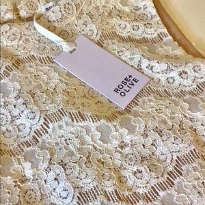 NWT Rose + Olive ecru lace and sleeveless blouse